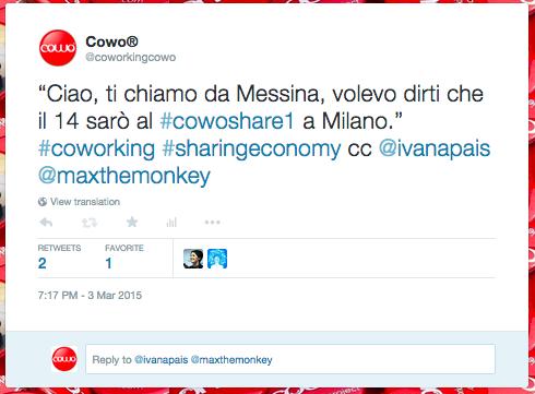 Cowoshare Condividere le Conoscenze dei Coworking Milano 2015