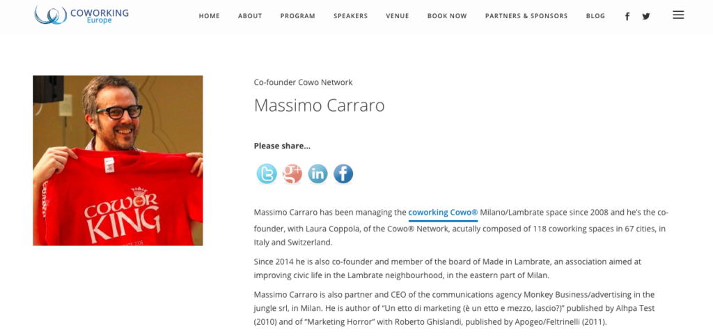Convenzione Coworking Europe + Rete Cowo - Massimo Carraro