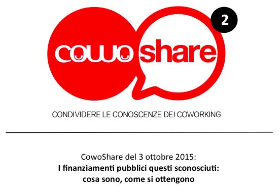 Evento coworking Cowoshare sui finanziamenti pubblici